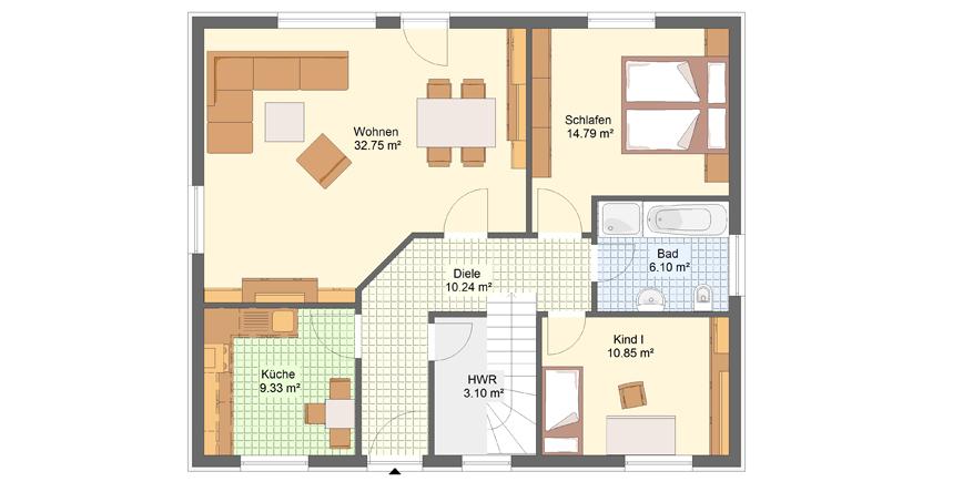 Bungalow sonnenschein massiv gebaut von lipsia haus for Wohnzimmer quadratisch grundriss